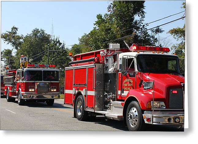 Here Come The Firetrucks Greeting Card by Carolyn Ricks
