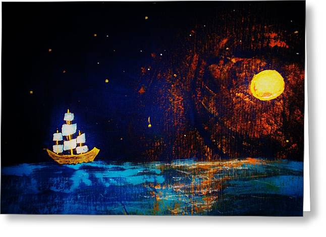 Pirate Ship Mixed Media Greeting Cards - Here Come The Pirates Greeting Card by Connie Thomas