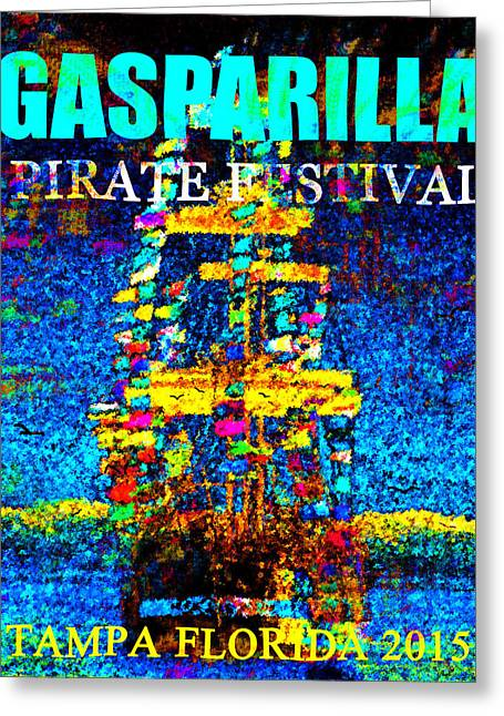 Pirate Ship Digital Greeting Cards - Here Comes Gasparilla Greeting Card by David Lee Thompson