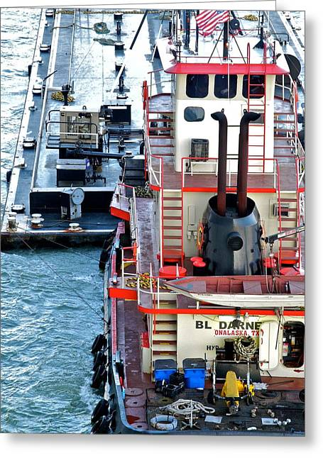 Kirsten Giving Greeting Cards - Here Comes the Diesel Fuel for the Ship Greeting Card by Kirsten Giving