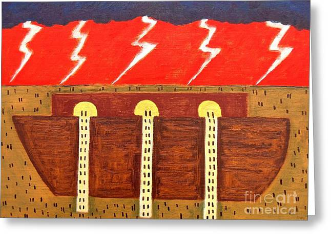 Noahs Ark Paintings Greeting Cards - Here Comes The Flood Greeting Card by Patrick J Murphy