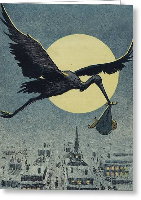 Flying Drawings Greeting Cards - Here comes the stork circa circa 1913 Greeting Card by Aged Pixel
