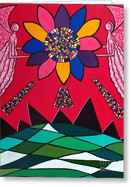 Visionary Artist Greeting Cards - Here comes the sun 11 Greeting Card by Sandra Marie Adams