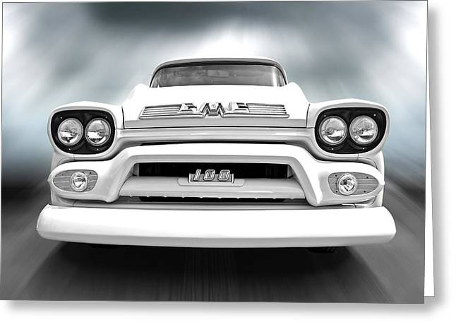 Classic Pickup Photographs Greeting Cards - Here Comes The Sun - GMC 100 Pickup 1958 Black and White Greeting Card by Gill Billington