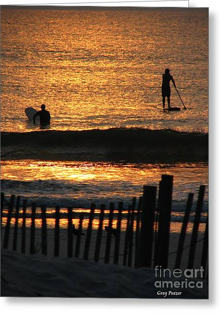 Surfer Art Greeting Cards - Here Comes The Sun Greeting Card by Greg Patzer