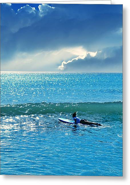 Surfing Art Greeting Cards - Here Comes The Sun Greeting Card by Laura  Fasulo