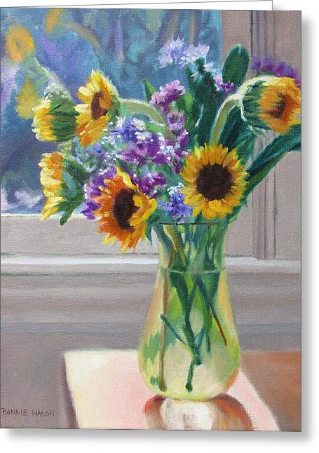 Still Life By Window Greeting Cards - Here Comes the Sun- Sunflowers by the Window Greeting Card by Bonnie Mason