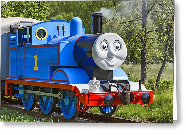Storybook Greeting Cards - Here Comes Thomas The Train Greeting Card by Dale Kincaid