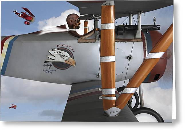 Biplane Greeting Cards - Here Comes Trouble 2 Greeting Card by Mike McGlothlen
