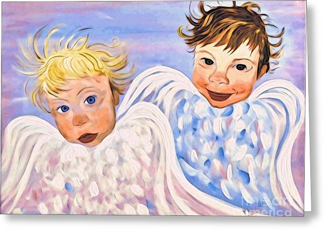 Angel Blues Greeting Cards - Here Comes Trouble Greeting Card by Phyllis Kaltenbach