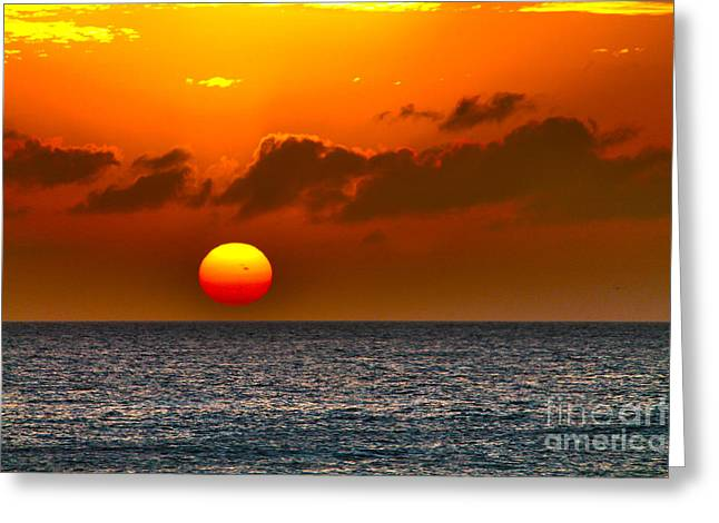 Abstract Beach Landscape Greeting Cards - Here goes the Sun Greeting Card by Claudia Mottram