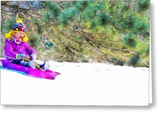 Action Ski Art Greeting Cards - Here I Go Greeting Card by Helene Guertin