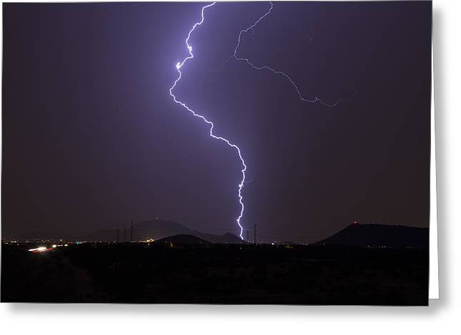 Arizona Lightning Greeting Cards - Here It Comes Greeting Card by Cathy Franklin