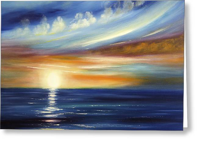 Sunset Seascape Paintings Greeting Cards - Here It Goes 2 Greeting Card by Gina De Gorna