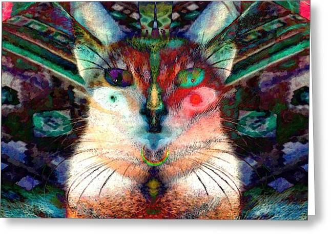 Here Kitty Greeting Cards - Here Kitty Kitty Greeting Card by D Preble