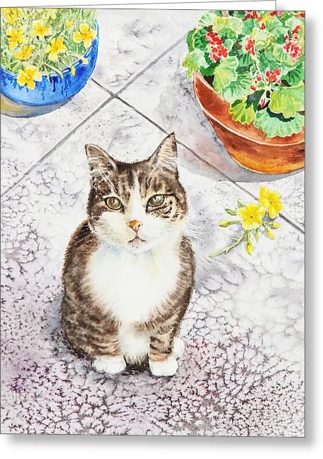 Here Kitty Kitty Kitty Greeting Card by Irina Sztukowski