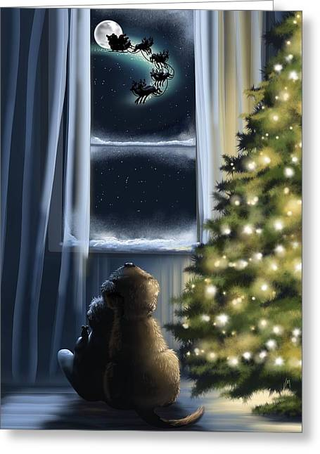 Snowy Night Greeting Cards - Here we are... Greeting Card by Veronica Minozzi