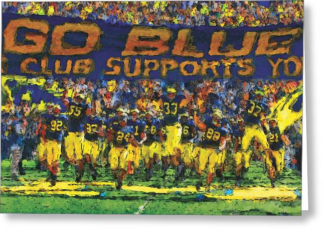 U Of M Greeting Cards - Here We Come Greeting Card by John Farr