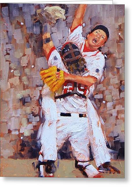 Red Sox Paintings Greeting Cards - Here We Come Greeting Card by Laura Lee Zanghetti