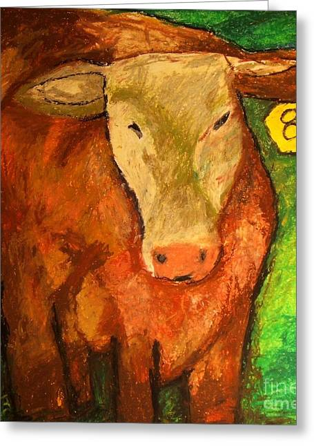 Cattle Pastels Greeting Cards - Hereford Art Greeting Card by Jon Kittleson