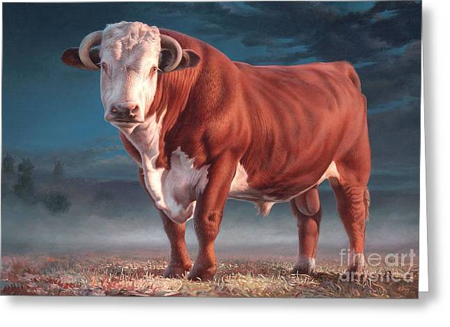 Steer Greeting Cards - Hereford bull Greeting Card by Hans Droog