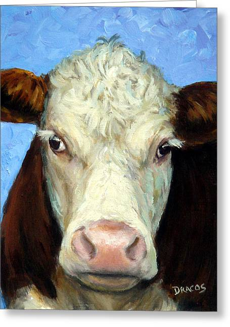 Hereford Greeting Cards - Hereford Cow on Blue Greeting Card by Dottie Dracos
