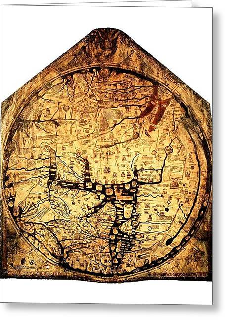 18th Century Mixed Media Greeting Cards - Hereford Mappa  Mundi 1285 large border UPSIZED Greeting Card by L Brown