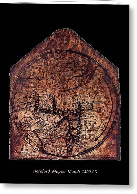 Merlin The Magician Greeting Cards - Hereford Mappa Mundi 1300 Text Label Medium Black Border Greeting Card by L Brown
