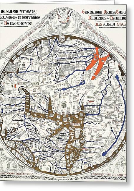 18th Century Mixed Media Greeting Cards - Hereford Mappa Mundi with Detail UPSZED  Greeting Card by L Brown