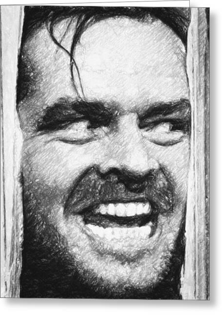 Home Decoration Greeting Cards - Heres Johnny - The Shining  Greeting Card by Taylan Soyturk