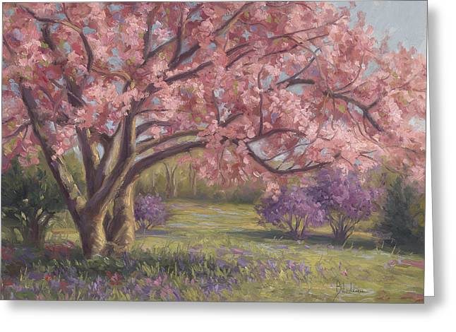 In Bloom Paintings Greeting Cards - Heres The Spring Greeting Card by Lucie Bilodeau