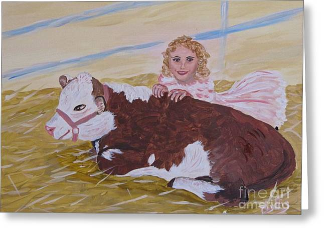 Halter Dress Greeting Cards - Herford Calf and Me Greeting Card by Phyllis Kaltenbach