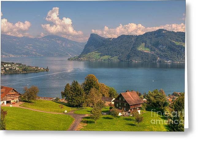 Caroline Pirskanen Greeting Cards - Hergiswil Switzerland Greeting Card by Caroline Pirskanen