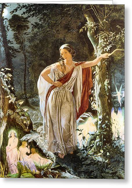 Farries Greeting Cards - Heriia and The Fairies Greeting Card by John Simmons