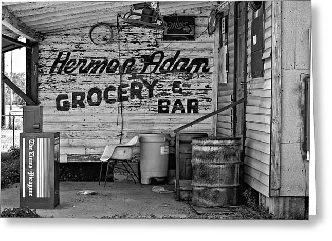 Grocery Store Greeting Cards - Herman Had It All bw Greeting Card by Steve Harrington