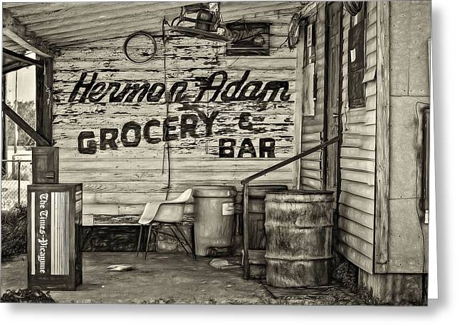 Grocery Store Greeting Cards - Herman Had It All - Sepia Greeting Card by Steve Harrington