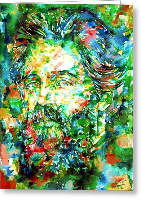 Moby Dick Greeting Cards - HERMAN MELVILLE watercolor portrait Greeting Card by Fabrizio Cassetta
