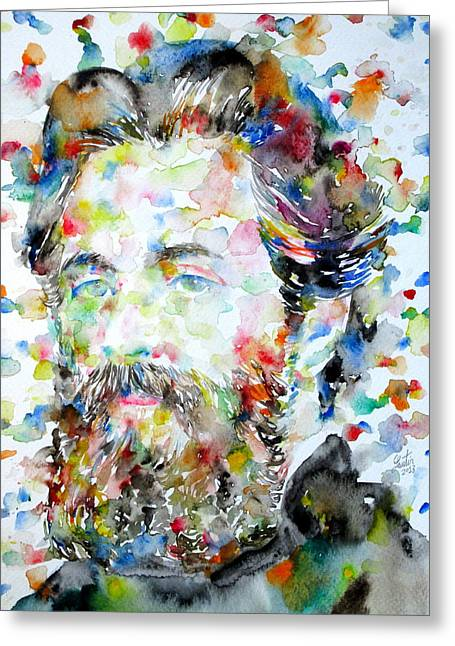 Moby Dick Greeting Cards - HERMAN MELVILLE watercolor portrait.2 Greeting Card by Fabrizio Cassetta