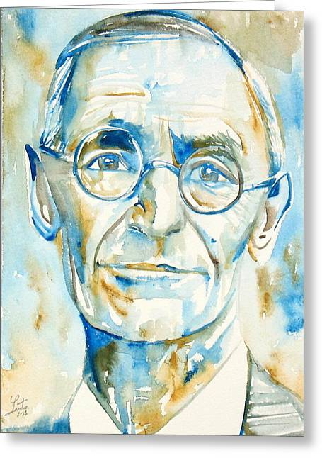 Hermann Greeting Cards - Hermann Hesse Watercolor Portrait.2 Greeting Card by Fabrizio Cassetta