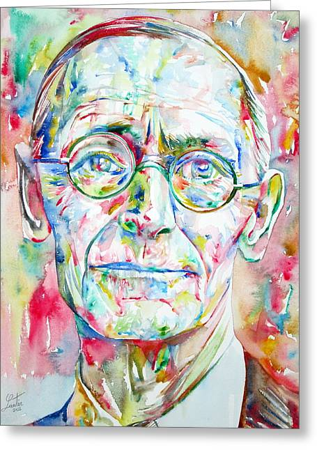 Hermann Greeting Cards - Hermann Hesse Watercolor Portrait.3 Greeting Card by Fabrizio Cassetta