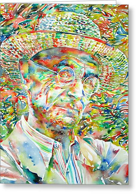 Hermann Greeting Cards - HERMANN HESSE with HAT WATERCOLOR PORTRAIT Greeting Card by Fabrizio Cassetta