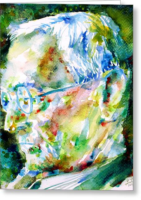 Hermann Greeting Cards - HERMANN HESSE - watercolor portrait.1 Greeting Card by Fabrizio Cassetta