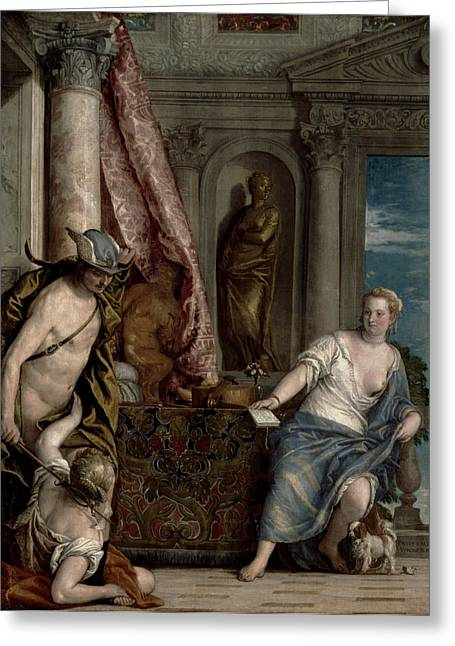 Metamorphoses Greeting Cards - Hermes, Herse And Aglauros, C.1576-84 Greeting Card by Veronese