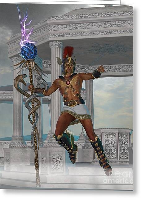 Hermes Greeting Cards - Hermes Messenger to the Gods Greeting Card by Corey Ford