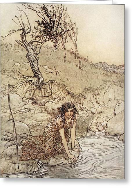 C20th Greeting Cards - Hermia, Illustration From Midsummer Greeting Card by Arthur Rackham