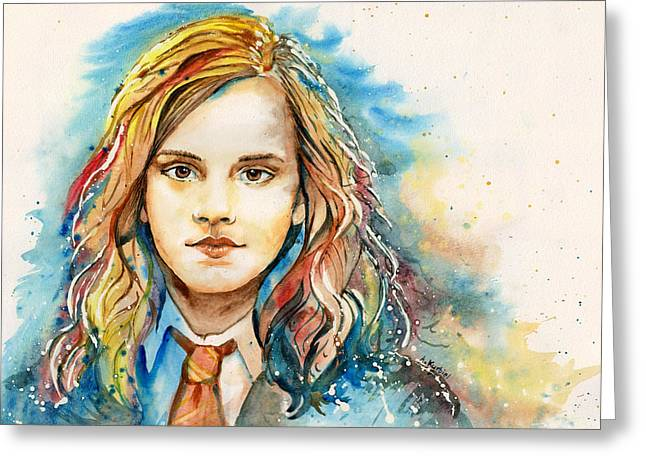 Hermione Granger Greeting Cards - Hermione  Greeting Card by Alina Kurbiel