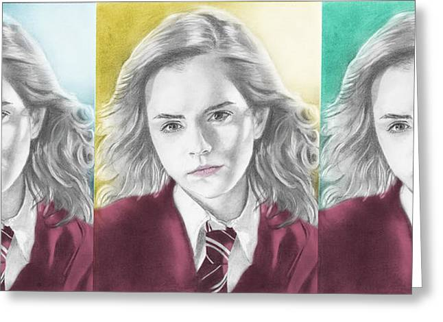 Hermione Granger Greeting Cards - Hermione Granger - 3up One Print Greeting Card by Alexander Gilbert