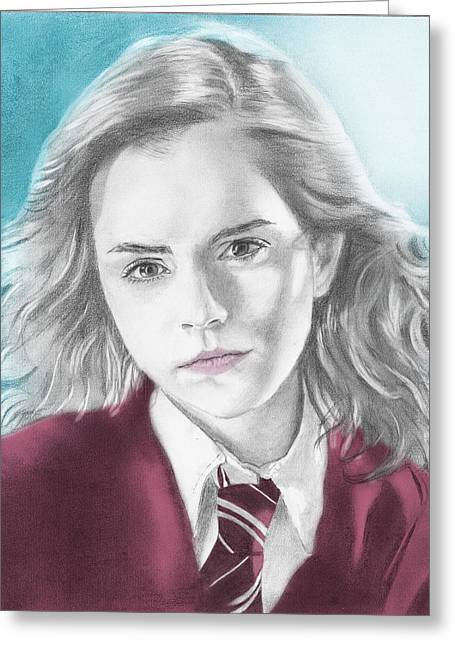 Hermione Granger Greeting Cards - Hermione Granger - Individual Blue Greeting Card by Alexander Gilbert