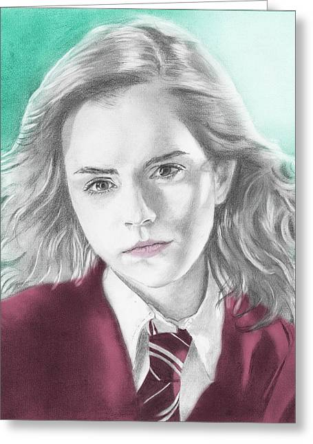 Hermione Granger Greeting Cards - Hermione Granger - Individual Green Greeting Card by Alexander Gilbert