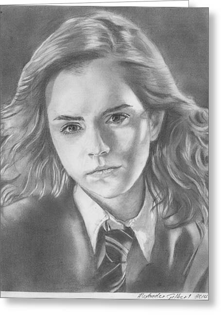 Hermione Granger Greeting Cards - Hermione Granger - Pencil Greeting Card by Alexander Gilbert